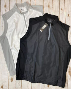 Adidas Adiclub Golf Wind Vest Men's 2XL -Lot of 2- Black(new)& White(preowned)