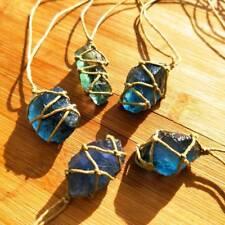 Natürliche Quarz Fluorit Edelstein Heilung Anhänger Halskette blau grün Aquamari