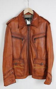 JUST CAVALLI Men's (IT) 50 or ~MEDIUM Brown Rigid Leather Jacket 35644-GS
