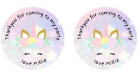 24 x Personalised Unicorn 2Birthday Stickers For Party Thank You Sweet Cone Bags