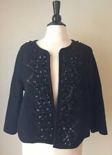Anthropologie Elevenses Black Wool Embellished Sequin Jacket Coat Large L