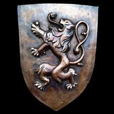 Rampant Lion English Scottish symbol Shield art sculpture plaque Dark Bronze