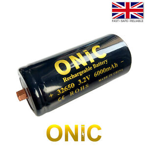 ONIC 32650 LiFePO4 Rechargeable Hi/Lo Temp M4 Screw Top Battery - 3.2V 6000mAh