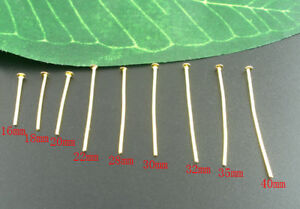 900 GOLD PLATED HEAD PINS~9 different sizes in pack~JEWELLERY MAKING (17A) UK