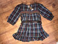 LADIES NEXT BELTED PLAID SHIRT DRESS TUNIC TOP - BNWT - SIZE 16 P PETITE