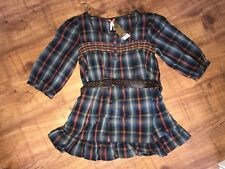 LADIES NEXT BELTED PLAID SHIRT DRESS TUNIC TOP - BNWT - SIZE 16 P PETITE