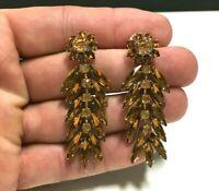 Vintage Topaz Navette Rhinestone FLOWER Earrings Long Dangle Pierced Gold AA155E