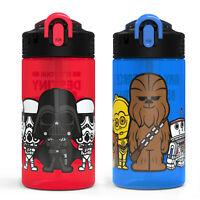 Zak Designs Kids 2-Piece 16 oz. Plastic Water Bottle Set Spout Covers Built-In