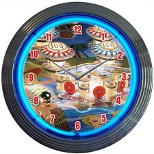 Pinball Machine Arcade Game Neon Clock 15 Inch Diameter Red White Blue Bumpers