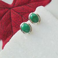Malachit green grün modern elegant oval Ohrstecker Ohrringe 925 Sterling Silber