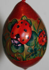 pysanky gourd Christmas ornament with ladybugs