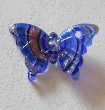 Pendentif Papillon en verre Style de Murano ton bleu strié Argent Or