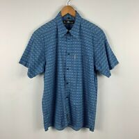 Ben Sherman Mens Button Up Size Large Blue White Short Sleeve Collared