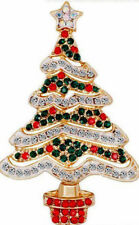 Classic White CHRISTMAS TREE Emerald Green Red Rhinestone Retro Vintage Brooch