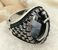 Handmade Solid 925 Sterling Silver Sword Black Zircon stone Men's Woman's Ring