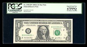 DBR 2003-A $1 Near-Solid Binary 1/0 STAR Fr. 1930-B* PCGS 67 PPQ Ser B1111011*