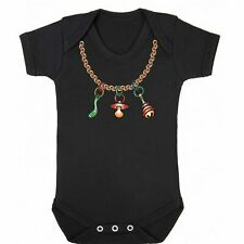 Gracioso Eslogan bebé crezca Maniquí oro cadena encanto recién nacido Chaleco Cuerpo Suit babygrow