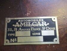 Typenschild Vorkrieg prewar Amilcar Messing Schild S29
