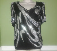 Oleg Cassini Black Silver Sequin Abstract Evening Top Women's Vintage Size S