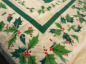 Vtg Startex Christmas Tablecloth Holly Berries Ribbons Retro Green Red