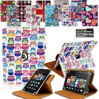 For Amazon Kindle Fire 7 HD8 HD10 alexa Rotating Stand Wallet Leather Cover Case