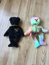Ty Beanie Babies The End Bear & Peace Bear No Tags Retired