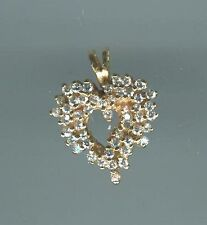 Solid 14kt Yellow Gold Diamonart CZ Freeform Heart Pendant  ~ Beautiful Gift!