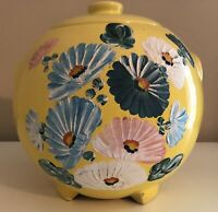 RANSBURG COOKIE JAR Hand Painted Yellow Asters Stoneware Crock VINTAGE!