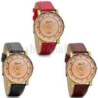 New Women's Ladies Casual Rhinestone Dial Leather Band Analog Quartz Wrist Watch