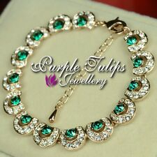 Antique Style 18K Rose Gold Plated Bracelet Emerald Made With SWAROVSKI CRYSTALS