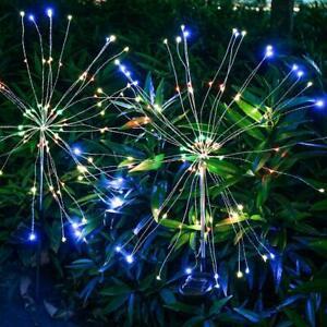 90 LED Solar Powered Firework Lamp Stake Garden Outdoor Wedding Fairy Light NEW