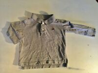 Baby Gap Sz 12-18 Months Toddler Boys Polo Shirt Gray Long Sleeve