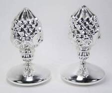 Artichoke Shaped Silver Glass Finial Ornaments Freestanding Tabletop Set of 2
