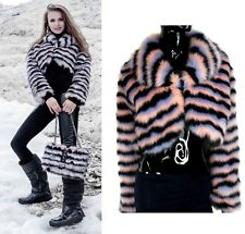 Alex Max AM1352 Black and Pink Faux Fur Short Jacket - From Florence, Italy