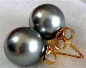 Grey shell pearl Earrings 16mm BLACK Loose Stud 18k aurora gorgeous party chic