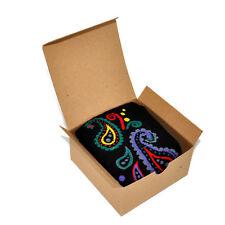 Mens Socks Gift Box Paisley Pattern Black Bandana - Stocking Stuffer Small Gift