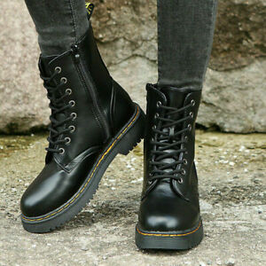 Womens Ladies Chunky Platform Lace Up Zip Combat Army Goth Punk Ankle Boots Size