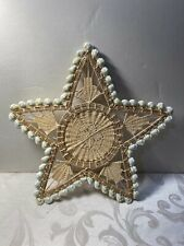 """Vintage Hand Woven Cowrie Shell Mat Wall Hanging 12"""" Star"""