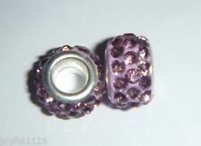 European Bead LILAC SHAMBALLA DISCO RESIN Crystals Charm Bead AUS Seller