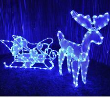 reindeer sleigh outdoor christmas illuminated rope light blue decoration xmas