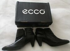ECCO Ladies New Black Leather Ankle Boots- Size 41