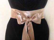 """2.5x100"""" GOLD SATIN SASH BELT SELF TIE BOW FOR BRIDE WEDDING PARTY PROM DRESS"""