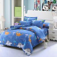 Dinosaur Blue Quilt/Doona/Duvet Cover Set Single/Double/Queen/King Bed Cotton