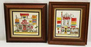 Vintage Roger Mason Studios Framed Watercolor Comic Print Signed Lot Of 2
