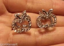 Pair Men Women Clip On Apple Huggie Silver Micro CZ Gem Ear Stud Studs Earrings