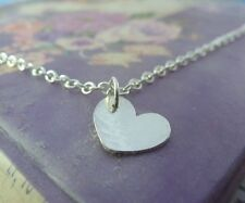 Silver Heart Necklace Solid Stering Silver Heart Pendant Chain Handmade