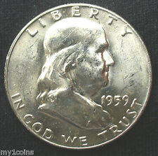 1959-D Franklin  Half Dollar, 90% Silver, MS, FBL, Bright,  buy-it-now