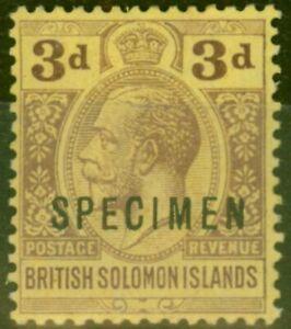 Solomon Islands 1923 3d Purple-Pale Yellow Specimen SG28s Fine Mtd Mint