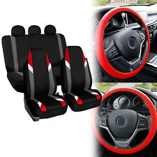 Supreme Modernistic Car Seat Covers Red Black w/ Silicone Steering Wheel Cover