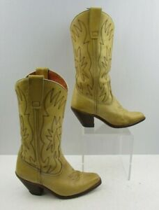 Ladies Yellow / Beige Leather Western Cowgirl Boots Size : 7